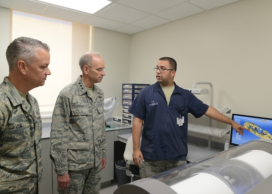 Lt. Gen. Mark Ediger, Headquarters U.S. Air Force Surgeon General, and Chief Master Sgt. George Cum, HQ USAF chief medical enlisted force, tour the renovated sections of the 56th Medical Group at Luke Air Force Base, Ariz., Oct. 11, 2017. Ediger and Cum visited Luke to see the new renovations to the 56th MDG and how they support the F-35A Lightning II mission. (U.S. Air Force photo by Senior Airman James Hensley)