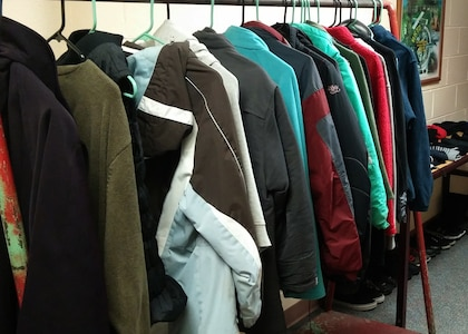 Winter clothing is displayed in the basement of the Military & Family Readiness Center at Joint Base Elmendorf-Richardson, Alaska, Oct. 5, 2017. JBER's M&FRC is offering clean, gently-used free coats to keep children warm this winter. This program is open to families of all service branches. (U.S. Air Force photo/Reece Baldwin)
