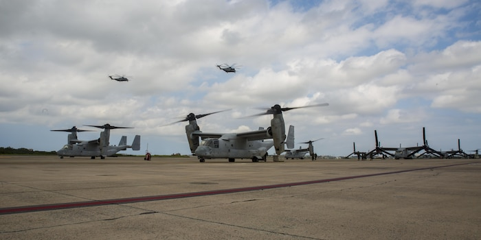 Two MV-22 Ospreys with Marine Medium Tiltrotor Squadron 262 prepare to take off from Marine Corps Air Station Futenma, Okinawa, Japan, September 29, 2017, in support of exercise KAMANDAG.  Bilateral exercises such as KAMANDAG increase the ability of the United States and the Philippines to rapidly respond and work together during real world terrorist or humanitarian crises, in order to accomplish the mission, support the local population and help mitigate human suffering. VMM-262 is assigned to Marine Aircraft Group 36, 1st Marine Aircraft Wing. In preparation for KAMANDAG, the Ospreys served as transportation for 3rd Marine Expeditionary Brigade's joint humanitarian assistance survey team.