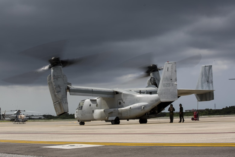 An MV-22 Osprey with Marine Medium Tiltrotor Squadron 262 prepares to take off from Marine Corps Air Station Futenma, Okinawa, Japan, September 29, 2017, in support of exercise KAMANDAG.  Bilateral exercises such as KAMANDAG increase the ability of the United States and the Philippines to rapidly respond and work together during real world terrorist or humanitarian crises, in order to accomplish the mission, support the local population and help mitigate human suffering. VMM-262 is assigned to Marine Aircraft Group 36, 1st Marine Aircraft Wing. In preparation for KAMANDAG, the Ospreys served as transportation for 3rd Marine Expeditionary Brigade's joint humanitarian assistance survey team.