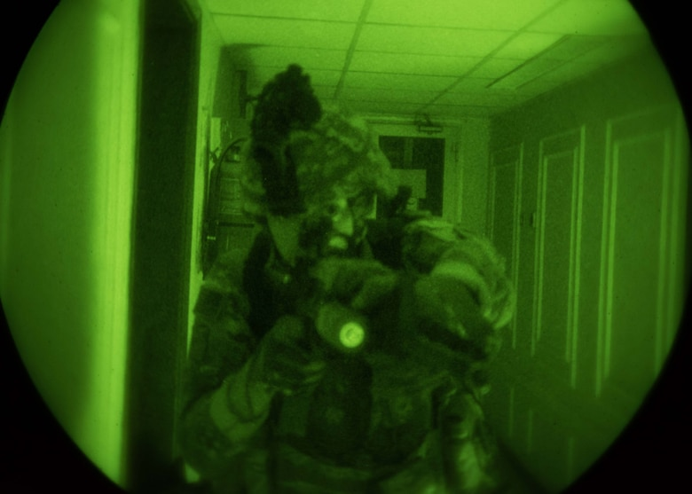 at an undisclosed location in Southwest Asia, Oct. 5, 2017. The HRRT team is a highly trained response force that trains to respond to active shooter, barricaded subjects and hostage rescue situations.
