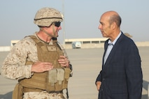 U.S. Marine Brig. Gen. Roger Turner, left, the commanding general of Task Force Southwest, speaks with Ambassador Hugo Llorens, right, the Special Chargé d'Affaires of the U.S. Embassy in Kabul, at Bastion Airfield, Afghanistan, Oct. 12, 2017. Llorens had an opportunity to meet with Marines from the Task Force and discuss the importance of their train, advise and assist mission in Helmand province. (U.S. Marine Corps photo by Sgt. Lucas Hopkins)
