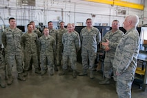 Lt. Gen. Rice praises 187th Fighter Wing engine shop for high performance.