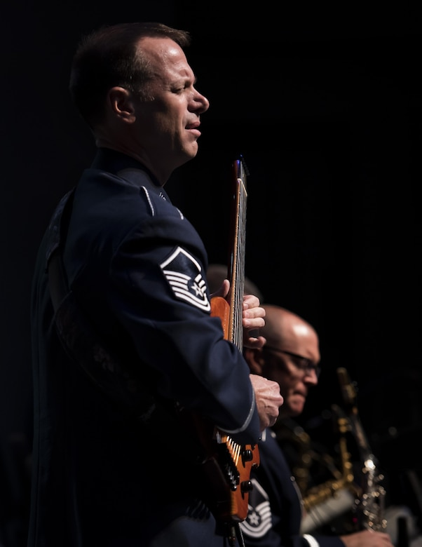 Guitarist performs