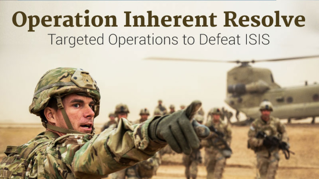 Graphic of solider pointing for Operation Inherent Resolve