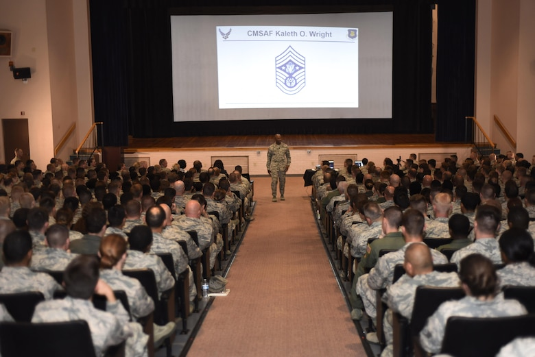CMSAF visited McConnell for an enlisted call and to charge McConnell's newest SNCOs.