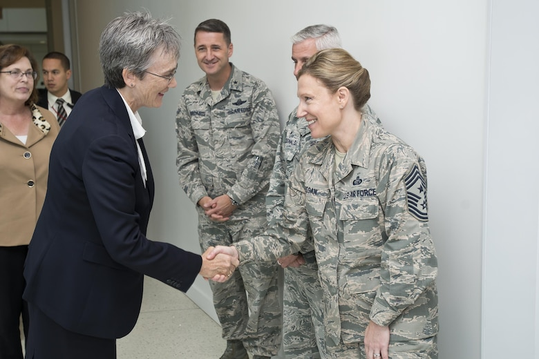 Secretary of the Air Force Heather A. Wilson is welcomed to the Air National Guard Readiness Center on Joint Base Andrews, Md., by Chief Master Sgt. Lorraine F. Regan, ANGRC command chief master sergeant, and the ANGRC leadership team, Oct. 12, 2017. (U.S. Air National Guard photo/Staff Sgt. John E. Hillier)