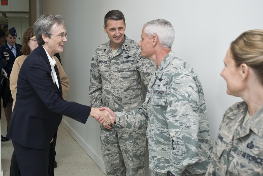 Secretary of the Air Force Heather A. Wilson is welcomed to the Air National Guard Readiness Center on Joint Base Andrews, Md., by Col. Keith G. MacDonald, ANGRC vice commander, and the ANGRC leadership team, Oct. 12, 2017. (U.S. Air National Guard photo/Staff Sgt. John E. Hillier)