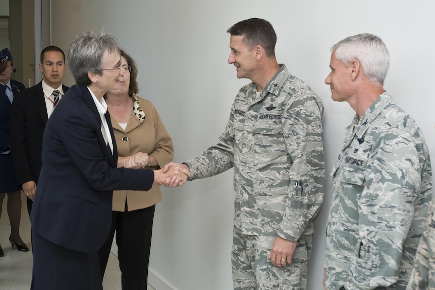 Secretary of the Air Force Heather A. Wilson is welcomed to the Air National Guard Readiness Center on Joint Base Andrews, Md., by Brig. Gen. Steven S. Nordhaus, ANGRC commander, and the ANGRC leadership team, Oct. 12, 2017. (U.S. Air National Guard photo/Staff Sgt. John E. Hillier)