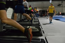 Members of the Run Clinic sprint on the treadmills at the Offutt Field House at Offutt Air Force Base, Nebraska Sept. 29, 2017.