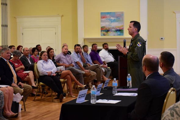 Col. Christopher Sage, 4th Fighter Wing commander, recaps Seymour Johnson Air Force Base events and major milestones during 2017 at the State of the Military, Oct. 10, 2017, at the Goldsboro Event Center in Goldsboro, North Carolina.