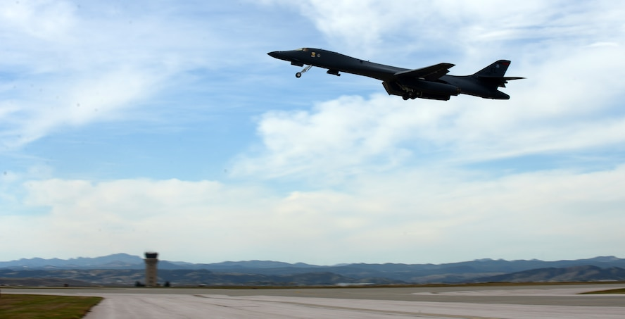 A B-1 bomber takes-off for exercise Combat Raider 18-1 at Ellsworth Air Force Base, S.D., Oct. 11, 2017. The purpose of the exercise is to test cohesion and coordination between multiple aircraft flying within a large simulated combat area to complete a scenario. (U.S. Air Force photo by Airman 1st Class Donald C. Knechtel)