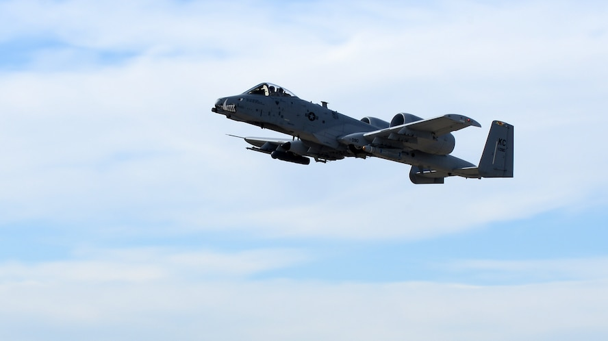 An Air Force Reserve A-10 Thunderbolt II fighter from Kansas City, Mo., participates in exercise Combat Raider 18-1 at Ellsworth Air Force Base, S.D., Oct. 11, 2017. Four A-10s joined Ellsworth aircrews in a joint military exercise over the Powder River Training Complex to prepare for their next deployment. (U.S. Air Force photo by Airman 1st Class Donald C. Knechtel)