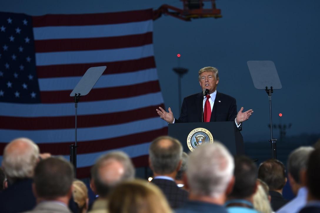 President Trump speaks to crowd in Middletown, Pa.