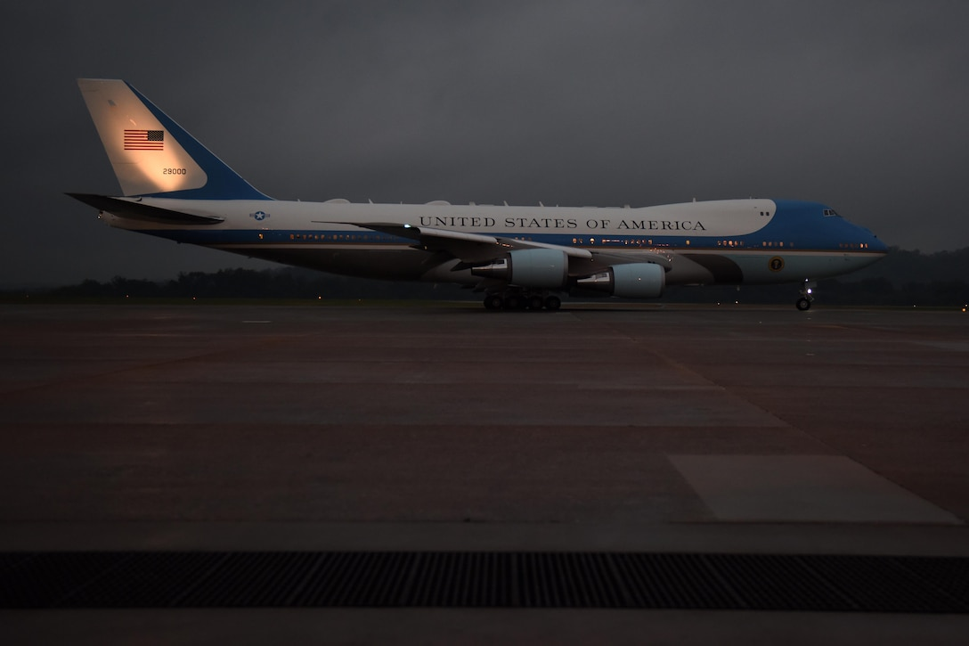 President Trump departs 193rd Special Operations Wing, Middletown, Pa