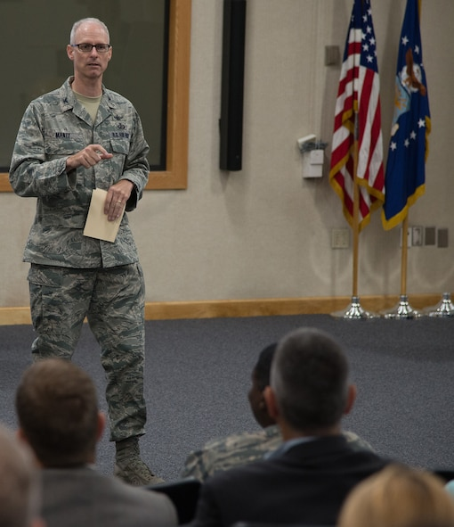 Col. Ryan Mantz, Air Force Life Cycle Management Center deputy Program Executive Officer and deputy of the Battle Management directorate, Hanscom Air Force Base, Mass., addresses attendees of the 2017 Hanscom Technology Expo Sept. 13, 2017.