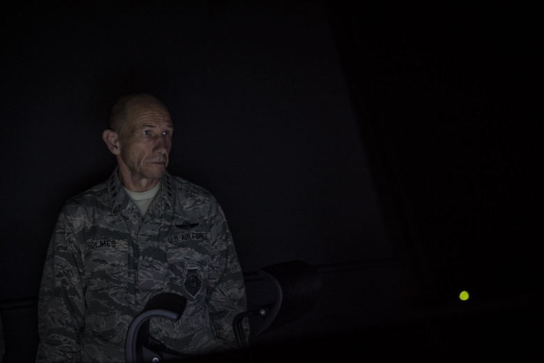 Gen. Mike Holmes, commander of Air Combat Command, views joint terminal attack controller training equipment during his visit to the 20th Air Support Operations Squadron, Oct. 9, 2017, at Fort Drum, N.Y. Holmes visited Airmen belonging to the 14th, 20th and 682d ASOS, and 18th Weather Squadron Detachment 1 during Warfighters Exercise 18-1, to observe Airmen fully engaged in roles they would fill for the Army while downrange. (U.S. Air Force photo by Senior Airman Janiqua P. Robinson)