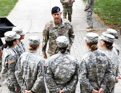 """Brig. Gen. William Turner, 1st Infantry Division deputy commanding general for support, and other leaders from the """"Big Red One"""" met with ROTC cadets at Ohio State University Sept. 15 during a visit to Columbus, Ohio, a day before OSU took on the U.S. Military Academy football team."""