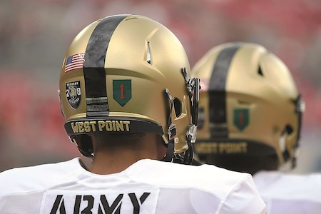 Members of the Black Knights wore the Big Red One patch on their helmets during the Saturday game.