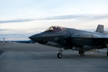 The F-35A Lightning II fighter aircraft lands at Eielson Air Force Base, Alaska.