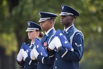 The U.S. Air Force Honor Guard participate in a full honors funeral for Col. Robert Anderson at Arlington National Cemetery, Arlington, Va., Oct. 6, 2017. Anderson, originally from Battle Creek, Mich., went missing on Oct. 6, 1972, when his F-4D crashed in North Vietnam. His remains were identified on Oct. 22, 1998.  (U.S. Army photo by Elizabeth Fraser)