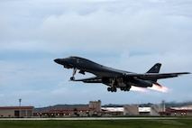 A B-1B Lancer assigned to the 37th Expeditionary Bomb Squadron, deployed from Ellsworth Air Force Base, S.D., takes off from Andersen AFB, Guam, to fly sequenced bilateral missions with two Japan Air Self-Defense Force F-15s and two South Korea air force F-15Ks near the Sea of Japan, Oct. 10, 2017. This mission marks the first time U.S. Pacific Command B-1B Lancers conducted combined training with JASDF and ROKAF fighters at night, demonstrating our increasing combined capabilities. (U.S. Air Force photo by Senior Airman Jacob Skovo)
