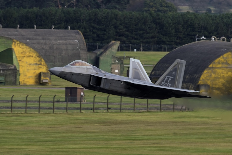 An F-22 Raptor from the 1st Fighter Wing, Joint Base Langley-Eustis, Va., takes off at RAF Lakenheath, England, Oct. 12, 2017. The Air Force has deployed F-22s, Airmen and associated equipment to RAF Lakenheath, for a flying training deployment to conduct air training with other Europe-based U.S. aircraft and NATO allies. (U.S. Air Force photo by Senior Airman Malcolm Mayfield)