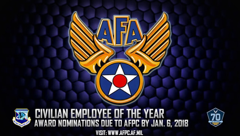 Air Force officials will accept nominations for the 2018 Air Force Association Outstanding Air Force Civilian Employees of the Year Award. All nomination packages are due to the Air Force's Personnel Center no later than Jan. 5, 2018. (U.S. Air Force graphic by Staff Sgt. Alexx Pons)
