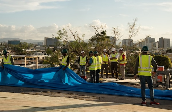 USACE and Contractors install Blue Roofs in Puerto Rico.
