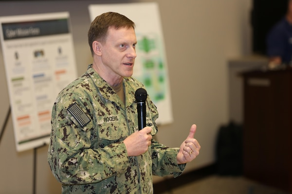 "Navy Adm. Michael S. Rogers, Commander, USCYBERCOM, gives remarks at the 2017 Cyber Guard exercise June 12, 2017. Cyber Guard is a weeklong exercise conducted in June to test and exercise the men and women of U.S. Cyber Command's Cyber Mission Force and interagency partner teams from across federal and state organizations tasked with defending critical infrastructure. During his opening remarks, Rogers set the tone regarding the challenge of the exercise. ""What I constantly tell the team leads is it's about pushing the envelope. It's about challenging your teams, and it's about trying different things."""