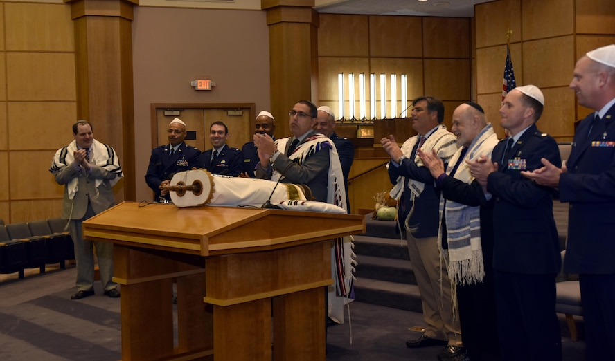 Memebers of the Chaplain Corps assigned to Whiteman Air Force Base, Mo., were honored with borrowing a Torah from the Congregation B'Nai Amoona in St. Louis, Mo., Oct. 10, 2017.
