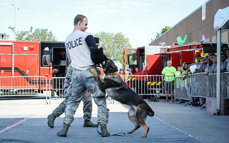 Senior Airman Kyle Jacob, 14th Security Forces Squadron Military Working Dog handler, gets bit while doing a MWD demonstration Oct. 3, 2017, during the Imagine the Possibilities Career Expo at the BancorpSouth Arena in Tupelo, Mississippi. MWD demonstrations were given several times throughout the three–day expo and handlers answered any questions from students and volunteers. (U.S. Air Force photo by Staff Sgt. Christopher Gross)