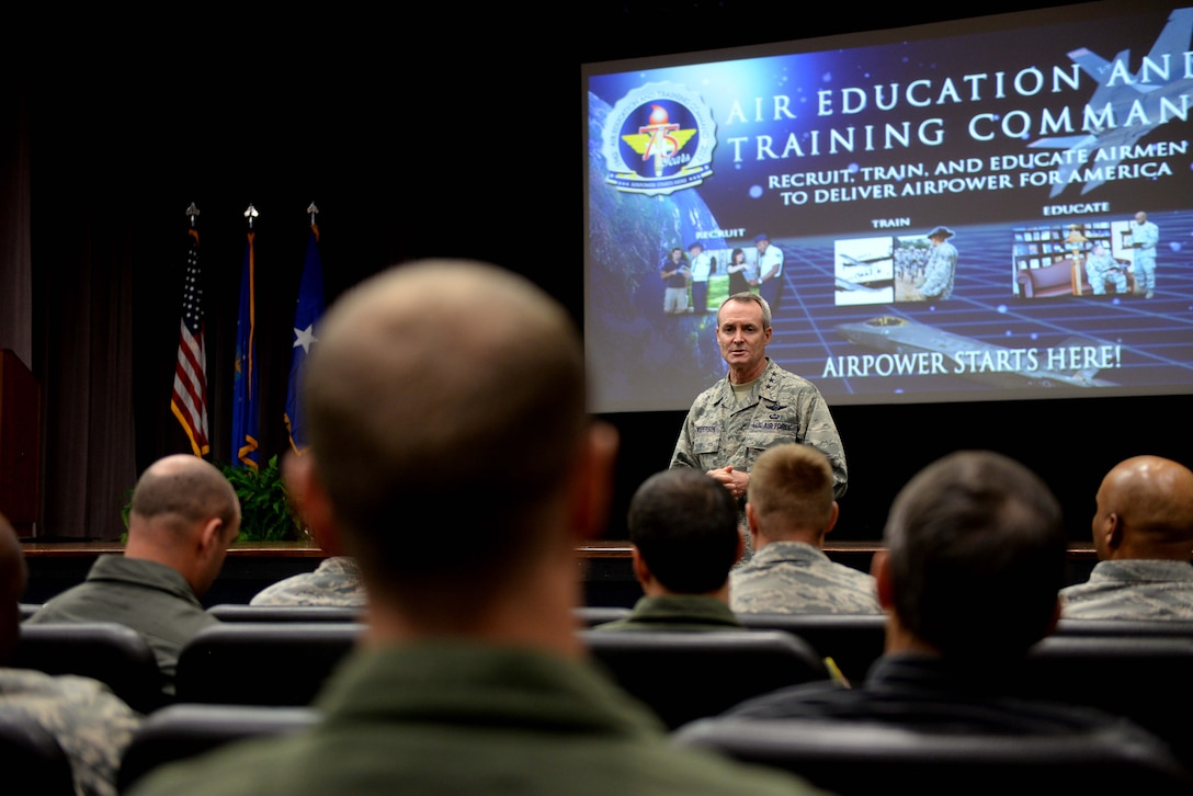 Lt. Gen. Darryl L. Roberson, commander of Air Education and Training Command, speaks with 14th Flying Training Wing leadership during an AETC Senior Leader All-Call Oct. 5, 2017, on Columbus Air Force Base, Mississippi.  During the briefing, Roberson spoke to leaders about ongoing AETC initiatives, the Continuum of Learning, Air Force Instruction reductions and changes, and the importance of delegating more authority to lower tactical-level commanders.