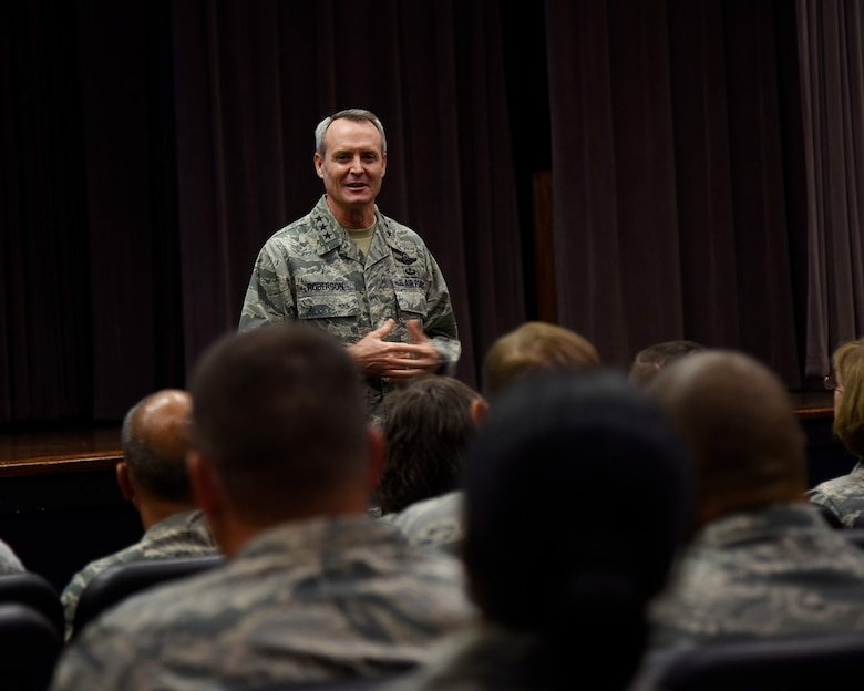 Lt. Gen. Darryl L. Roberson, commander of Air Education and Training Command, speaks with 14th Flying Training Wing leadership during an AETC Senior Leader All-Call Oct. 5, 2017, on Columbus Air Force Base, Mississippi. Roberson and AETC Command Chief Master Sergeant Juliet C. Gudgel spoke about future changes and ideas that can be implemented throughout their bases, groups and squadrons to more efficiently lead their students and Airmen.