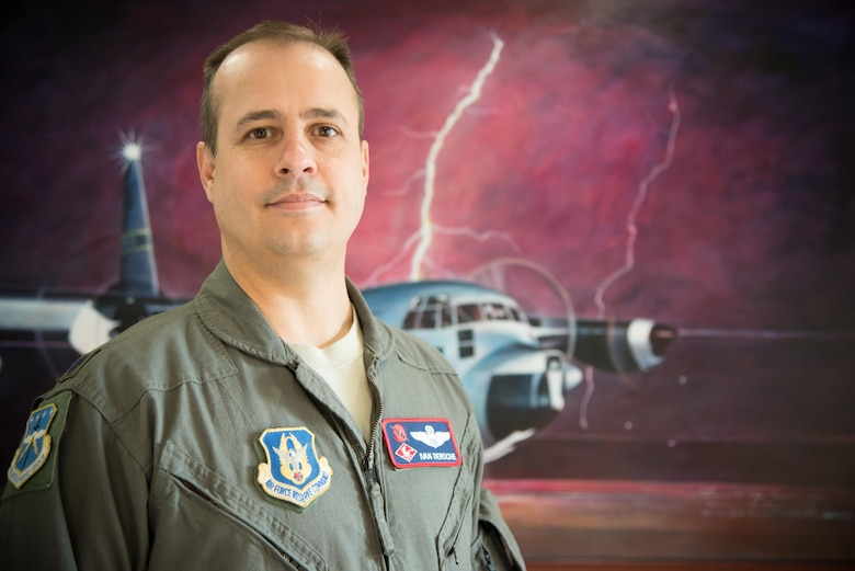 Lt. Col. Ivan Deroche, 403rd Operations Group chief of standardization and evaluation, poses for a photo Oct. 12, 2017 at Keesler Air Force Base, Mississippi. Deroche was recently named the Air Force Reserve command nominee for the National Aeronautical Association Wright Brothers Memorial Trophy. (U.S. Air Force photo/Staff Sgt. Heather Heiney)