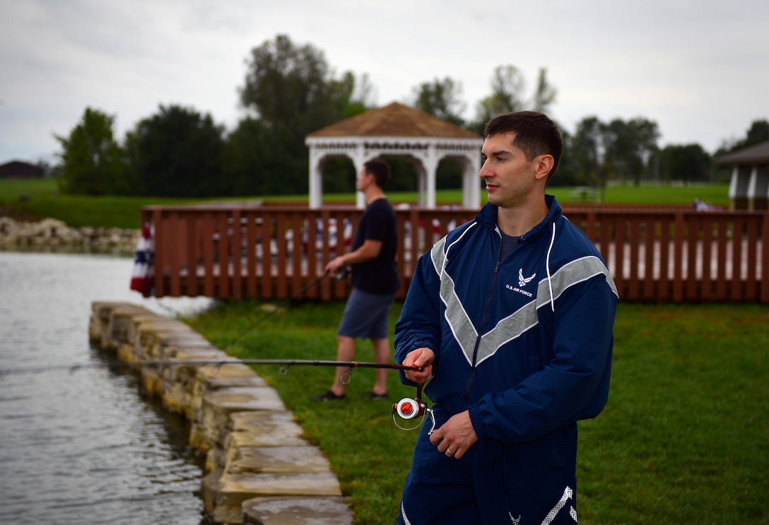 U.S. Air Force Staff Sgt. Marco Cardenas, a pharmacy technician assigned to the 509th Medical Support Squadron, participates in the fishing competition held at Ike Skelton Lake at Whiteman Air Force Base, Mo., Oct. 6, 2017.