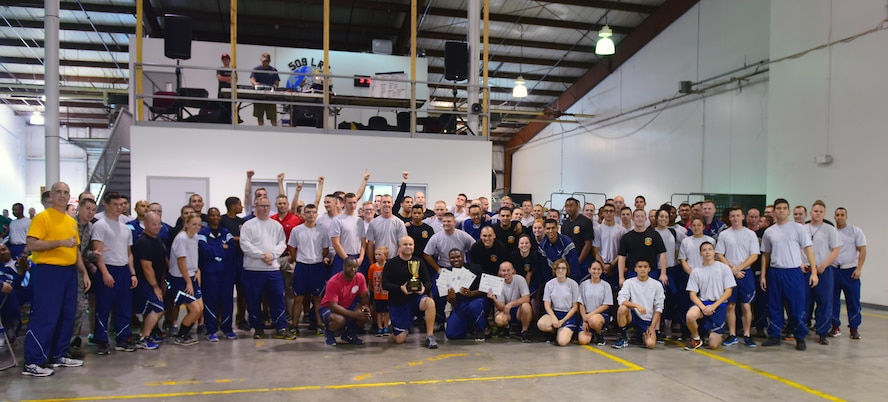 Members of the 509th Maintenance Squadron gather as the overall champions for the 2017 Comprehensive Airman Fitness Day at Whiteman Air Force Base, Mo., Oct. 6, 2017.