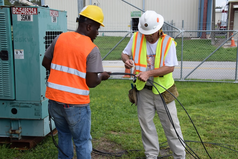 As part of the U.S. Army Corps of Engineers Temporary Power Mission team members install a generator at the Arcadia Airport, Arcadia, FL. The 249th Engineer Battalion - Prime Power completed the assessment, before contractors moved in and connected generator power, September 15, 2017.