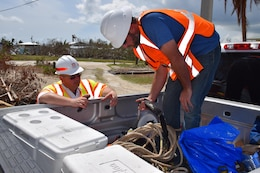 U.S. Army Corps of Engineers, Jacksonville District safety specialist visits Blue Roof install sites to ensure contractors are following appropriate safety procedures, September 28, 2017.
