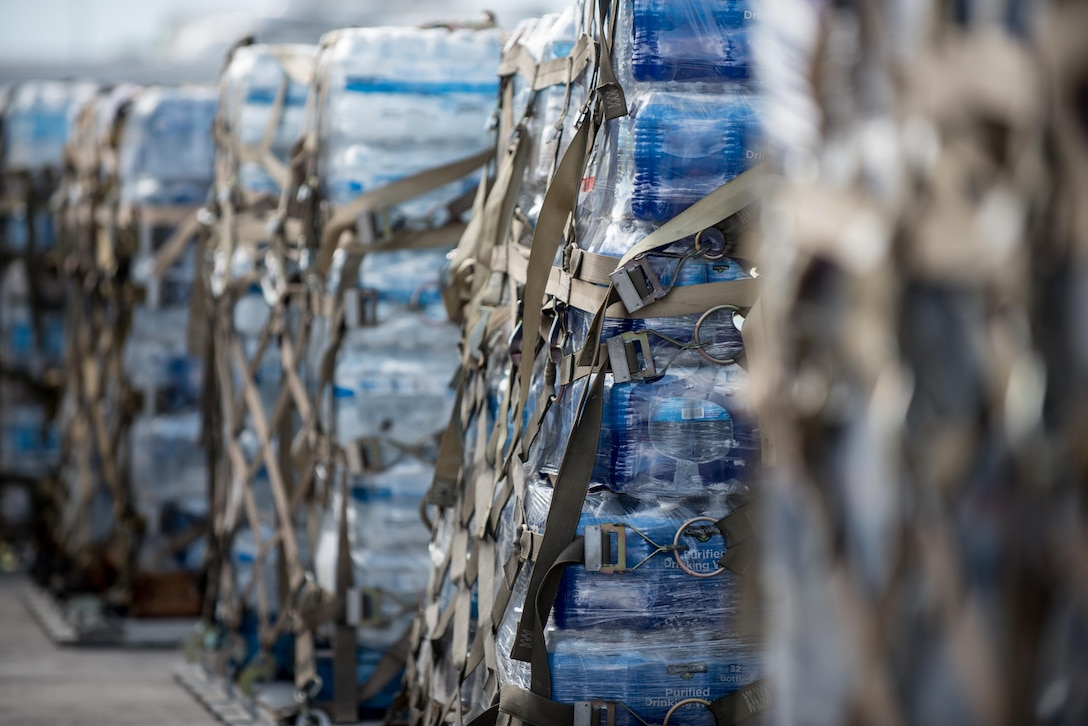 Pallets of water are among the 7.2 million pounds of cargo processed through an aerial port of debarkation at Luis Muñoz Marín International Airport in San Juan, Puerto Rico, on Oct. 6, 2017, following Hurricane Maria. The port is staffed by 39 members of the Kentucky Air National Guard's 123rd Contingency Response Group, augmented by Airmen from the active-duty Air Force and Air National Guard units in multiple states. (U.S. Air National Guard photo by Lt. Col. Dale Greer)