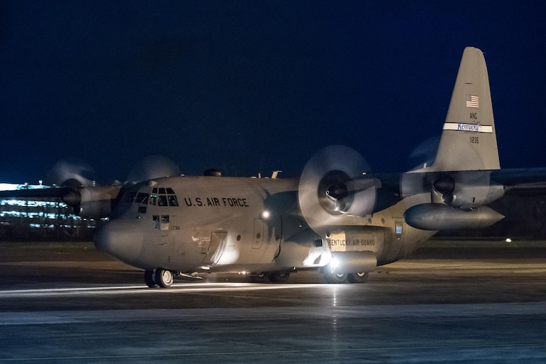 A Kentucky Air National Guard C-130 Hercules aircraft arrives at Luis Muñoz Marín International Airport in San Juan, Puerto Rico, Oct. 7, 2017. The aircraft is carrying humanitarian aid to assist the island following Hurricane Maria. (U.S. Air National Guard photo by Lt. Col. Dale Greer)