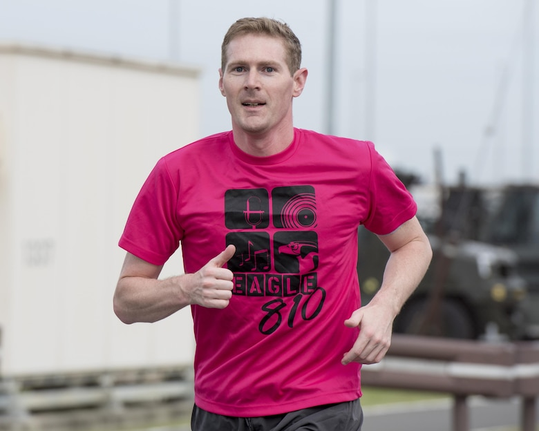 Lt.Col. Erik Abrames, 374th Surgical Operations Squadron radiologist, runs during the Breast Cancer Awareness Month 5K run at Yokota Air Base, Japan, Oct. 06, 2017.