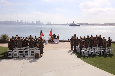 Marines with 9th Marine Corps District, based out of Naval Station Great Lakes, Illinois, salute during the national anthem during a ceremony in San Diego, Calif., Oct. 11. The Marine recruiters in attendance were recognized for their efforts during a two-month recruiting offensive, Operation Herculean Effort, where they went above and beyond to find the most highly qualified men and women to join the Marine Corps, from across the Midwest. Marines received awards such as the Navy and Marine Corps Commendation and the Navy and Marine Corps Achievement Medals.  (U.S. Marine Corps photo by Lance Cpl. Quavaungh Pointer)