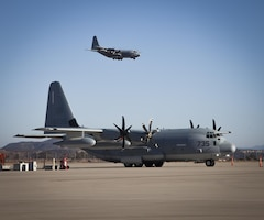 A KC-130J Hercules with Marine Aerial Refueler Transport Squadron 352 arrives at Marine Corps Air Station Miramar, Calif., Oct. 7. For eight days, Marines with VMGR-352 participated in a humanitarian aid mission and helped victims of Hurricane Maria in Puerto Rico.