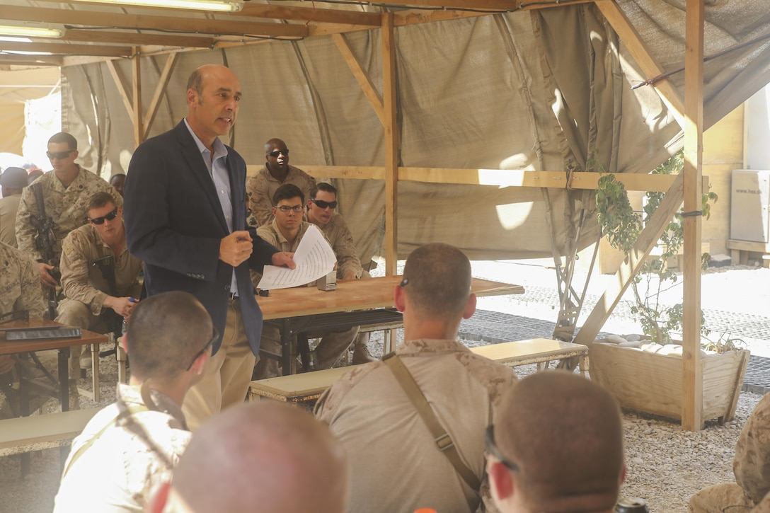 Ambassador Hugo Llorens, the Special Chargé d'Affaires of the U.S. Embassy in Kabul, speaks with Marines assigned to Task Force Southwest at Camp Shorab, Afghanistan, Oct. 12, 2017. Llorens reaffirmed the United States' commitment to destroying the Taliban and other insurgent groups in Afghanistan, while also commending the Marines and key leaders with the Afghan National Defense and Security Forces for recent mission successes in Helmand province. (U.S. Marine Corps photo by Sgt. Lucas Hopkins)