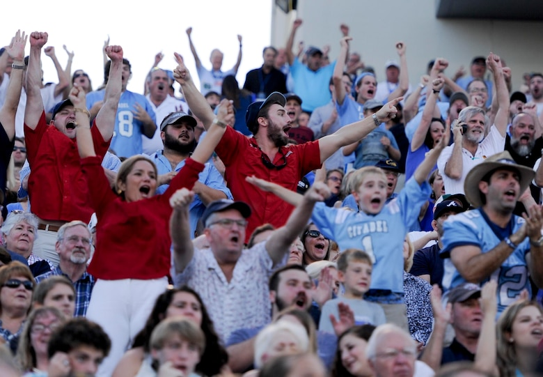 Members of the Charleston community cheer at the Johnson Hagood Memorial Stadium for the Citadel Bulldogs during Military Appreciation Night, Oct. 14, 2017. The 628th Security Forces Squadron, 628th Civil Engineer Squadron Explosive Ordnance Disposal Flight and 437th Airlift Wing represented Joint Base Charleston at the football game. Additionally, the Citadel hosted women's soccer and volleyball games in support of Military Appreciation Week. The Citadel Bulldog's football game against the Wofford Terriers was the capstone event, with Woffard winning 20-16.