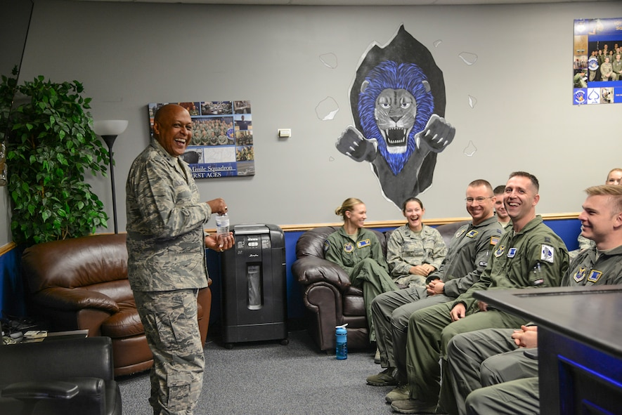 Maj. Gen. Anthony Cotton, 20th Air Force commander, talks to missileers in the 10th Missile Squadron Heritage Room, Oct. 11, 2017 at Malmstrom Air Force Base, Mont.