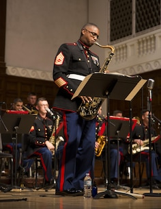 GySgt. Jason Knuckles, Small Ensemble Leader, Parris Island Marine Band, performs a solo during a concert with the Marine Corps Jazz Orchestra at University of Redlands, Oct 13, 2017. The orchestra features top Marine musicians from throughout the Corps. They tour annually to share their music, culture, and patriotism with public audiences. (U.S. Marine Corps photo by Sgt. Taylor Morton/Released)