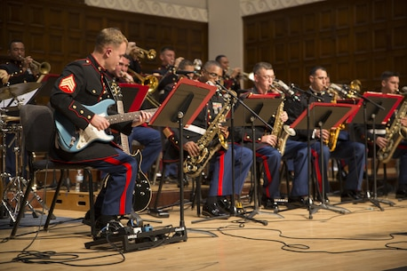 Sgt. Michael Borowski, a muscian with Marine Band San Digeo, performs along side the Marine Corps Jazz Orchestra at a concert at California Baptist University, Oct 13, 2017. The orchestra features top Marine musicians from throughout the Corps. They tour annually to share their music, culture, and patriotism with public audiences. (U.S. Marine Corps photo by Sgt. Taylor Morton/Released)