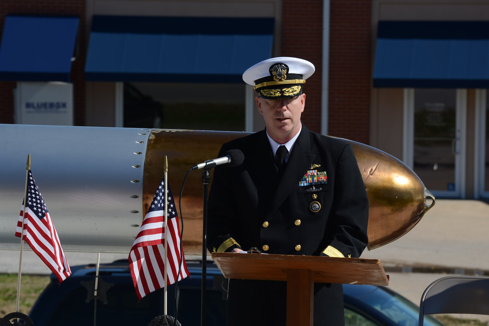 """U.S. Navy Rear Adm. William J. Houston, U.S. Strategic Command deputy director for Strategic Targeting and Nuclear Mission Planning, delivers remarks at the 55th annual USS Wahoo Memorial Service and """"Tolling of the Boats"""" ceremony at the Saunders County Courthouse in Wahoo, Neb., Oct. 15, 2017. The service marked the 74th anniversary of the loss of USS Wahoo, after conducting seven combat patrols from 1942-1943 and sinking 20 enemy vessels."""